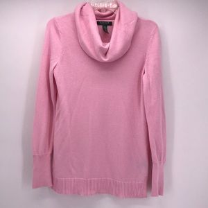 LAUREN R.LAUREN PINK KNIT COWL NECK SWEATER ECU